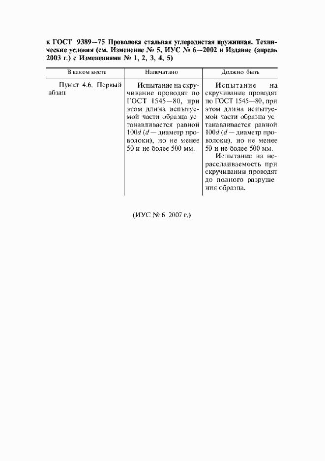 Поправка к ГОСТ 9389-75