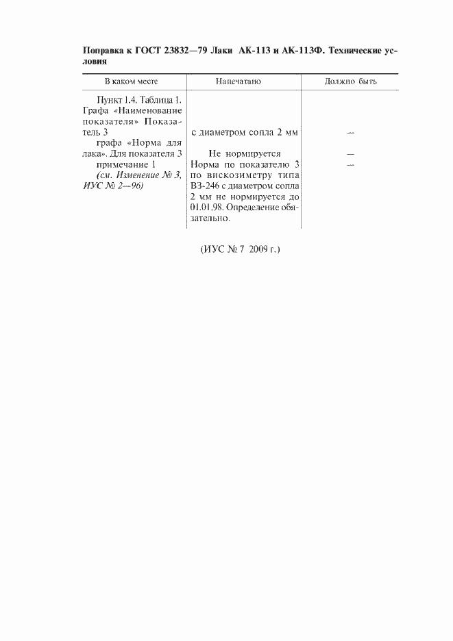 Поправка к ГОСТ 23832-79
