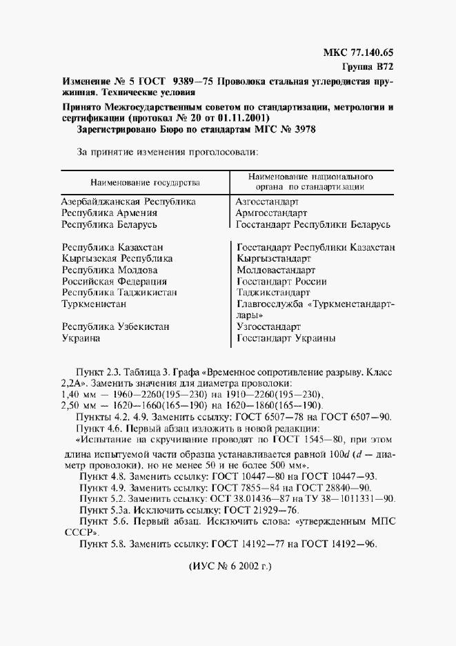 Изменение №5 к ГОСТ 9389-75